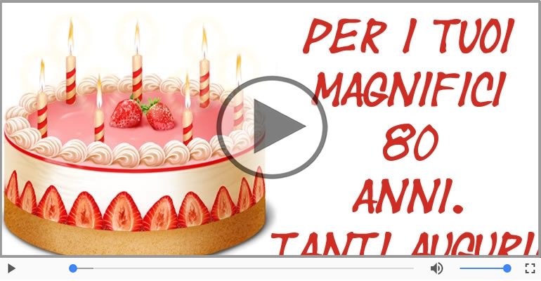 Cartoline musicali Per 80 anni - Tanti Auguri 80 anni!
