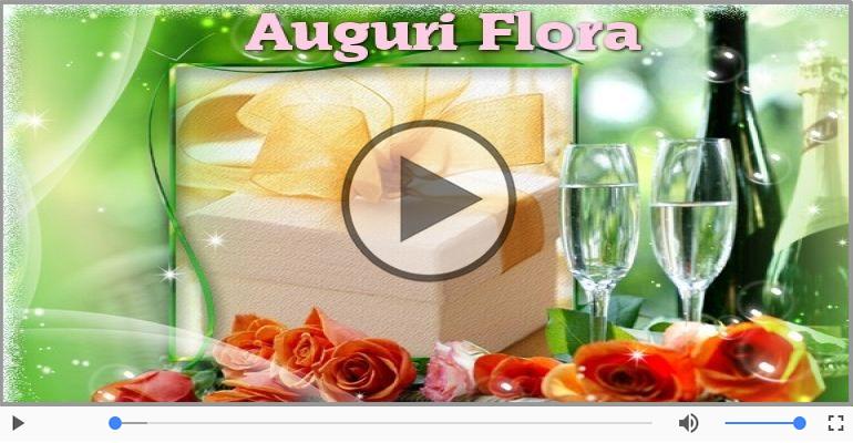 Cartoline musicali di auguri - Tanti Auguri di Buon Compleanno Flora!