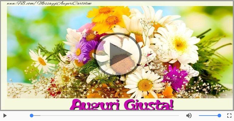 Cartoline musicali di auguri - Tanti Auguri di Buon Compleanno Giusta!