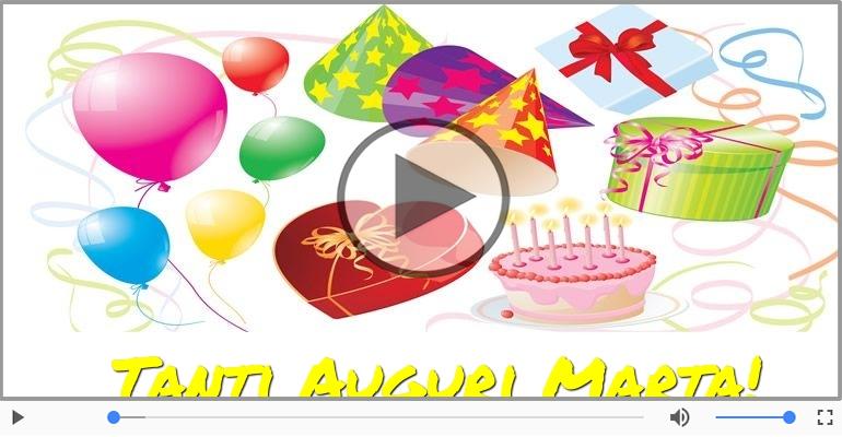Cartoline musicali di auguri - Tanti Auguri di Buon Compleanno Marta!