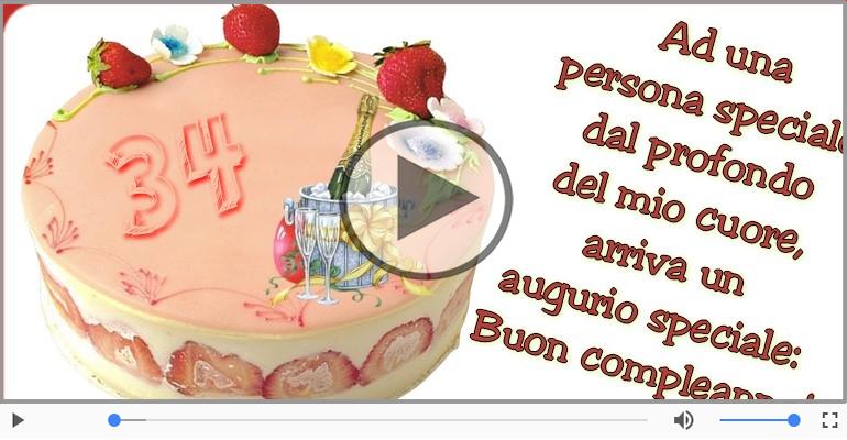 Cartoline musicali Per 34 anni - Cartoline animate e musicali: Buon Compleanno 34 anni!