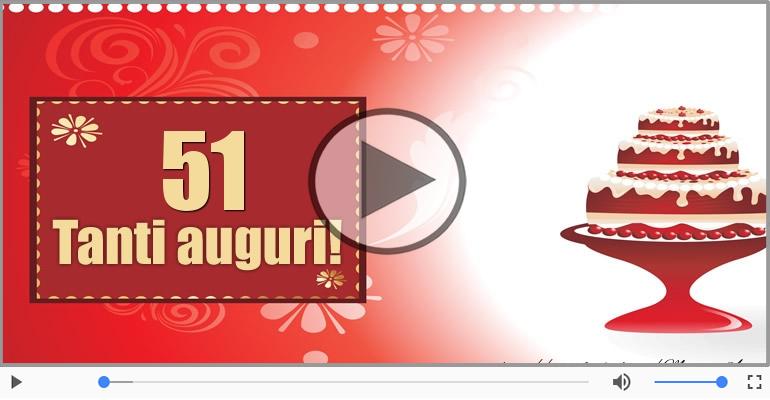 51 Anni Buon Compleanno Tanti Auguri Tradizionale Cartoline