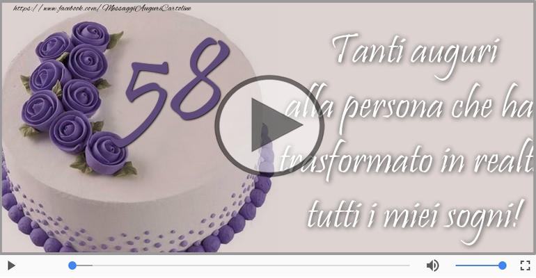 Cartoline musicali Per 58 anni - Cartoline animate e musicali: Buon Compleanno 58 anni!
