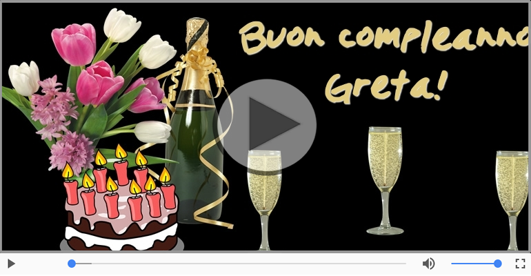 Cartoline musicali di compleanno - Tanti Auguri di Buon Compleanno Greta!