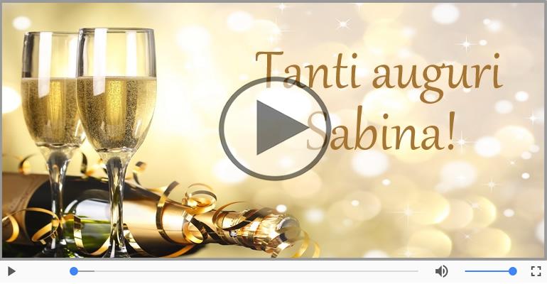 Cartoline musicali di compleanno - Tanti Auguri di Buon Compleanno Sabina!