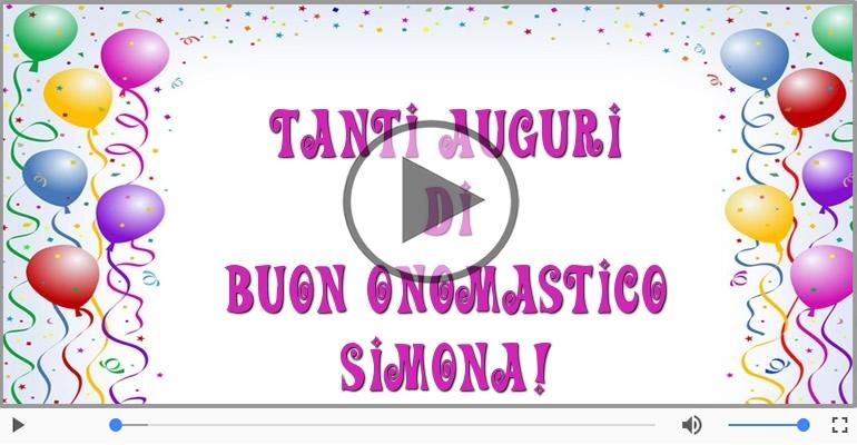 Cartoline musicali di onomastico - Tanti auguri di Buon Onomastico Simona!